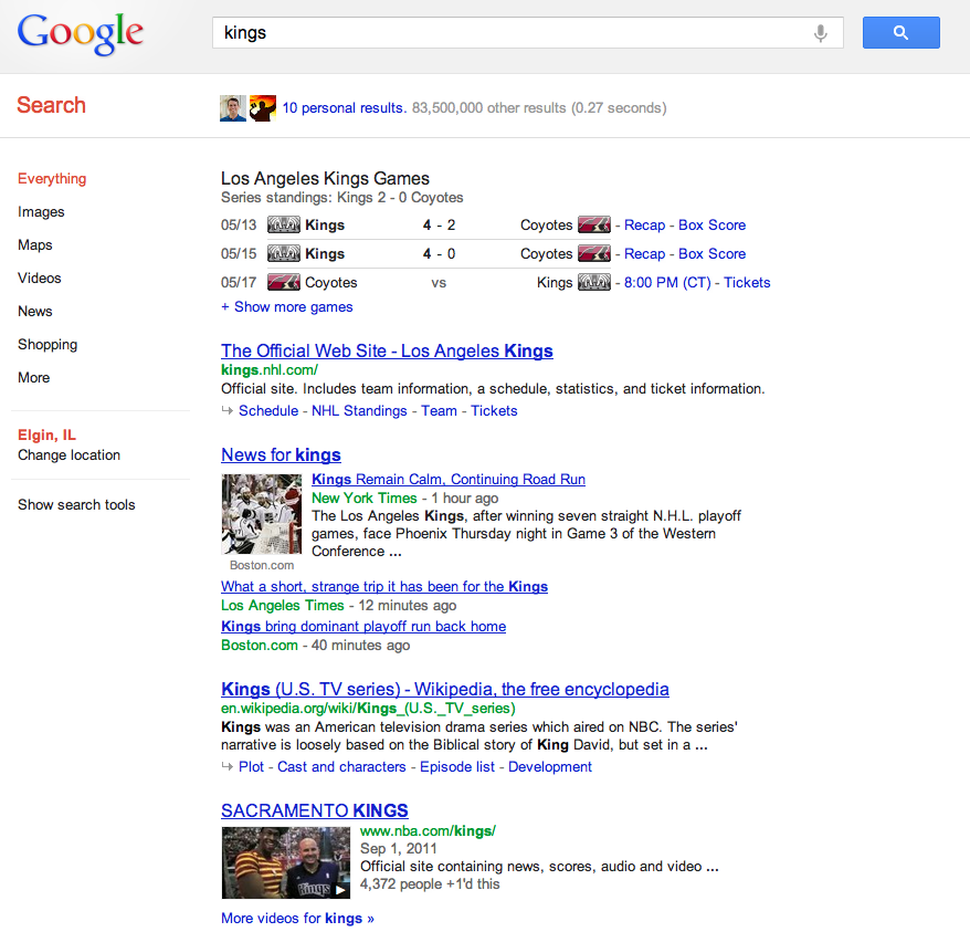 Searching the Google Knowledge Graph example