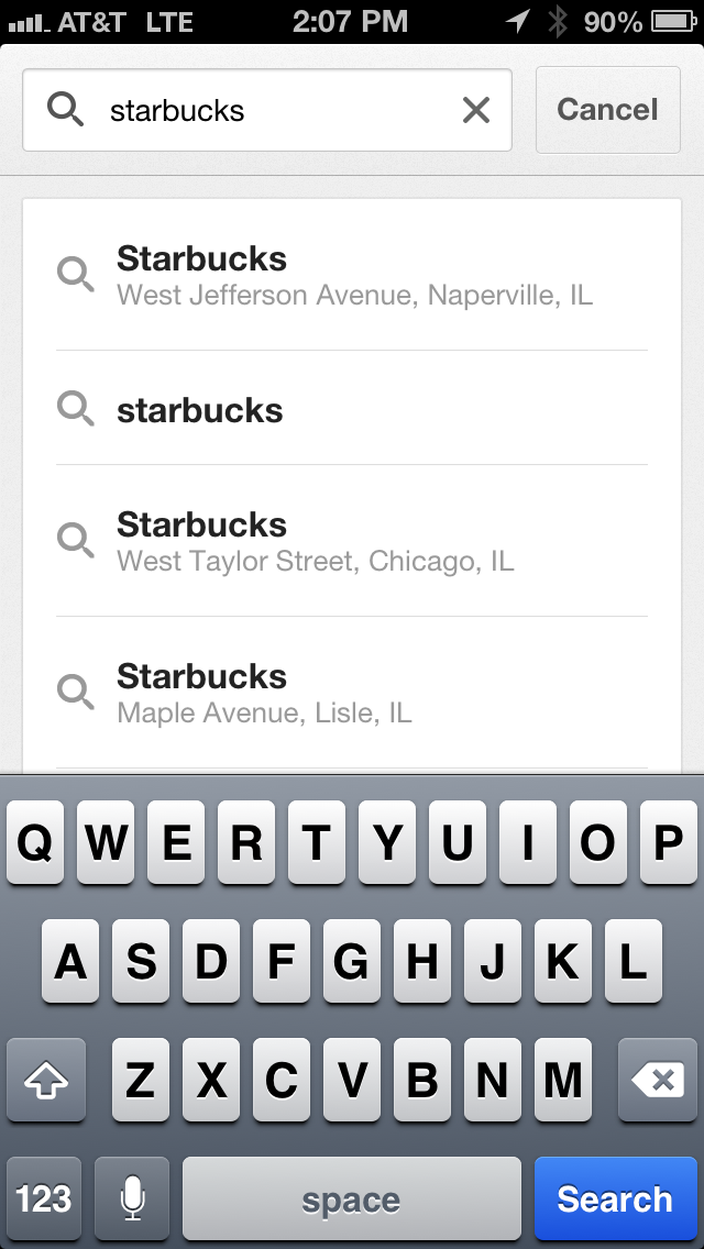 google maps app search